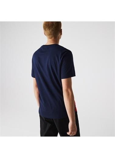Lacoste Lacoste Erkek Regular Fit Bisiklet Yaka Renk Bloklu Lacivert T-Shirt Lacivert